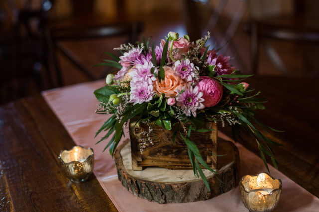 floral box wedding centerpiece